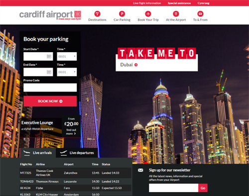 Cardiff Airport Top 10 Best Airport Website 2016 Gibe Digital